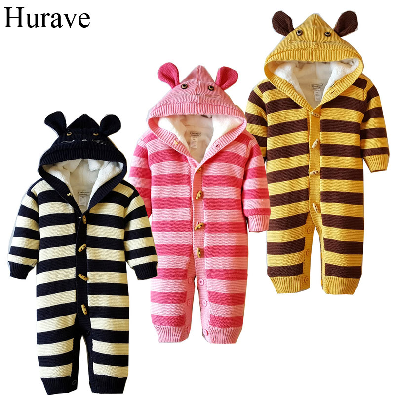 Hurave Winter Baby Romper cotton and velvet padded coat double breasted New Born Baby boys and girls sweater hurave infant clothing color stripes cotton knit long sleeve jumpsuit velvet baby romper new born baby boys and girls clothes