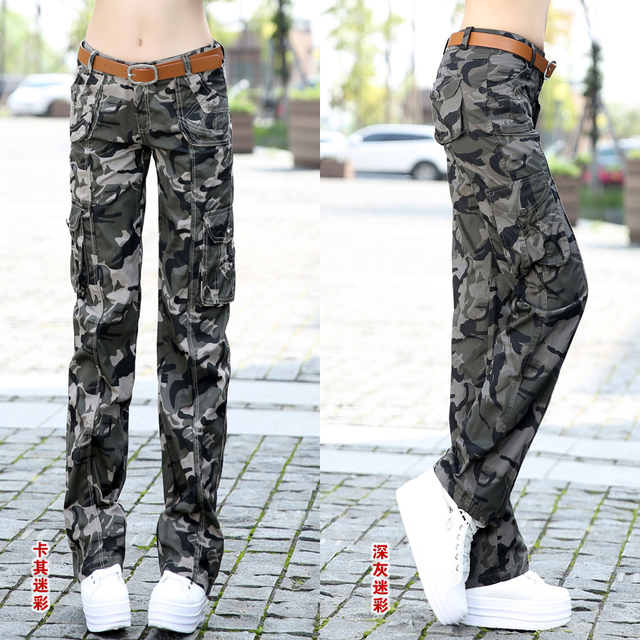 Summer new arrival women's Camouflage pants female straight casual pants overalls Camouflage female out door Cargo trousers Z955