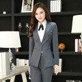 Deisgn novedad Gris Uniforme de Gala Trajes de Trabajo Profesional Con Chaquetas Y Pantalones Mujer Trajes de Señoras Pantalones Conjuntos