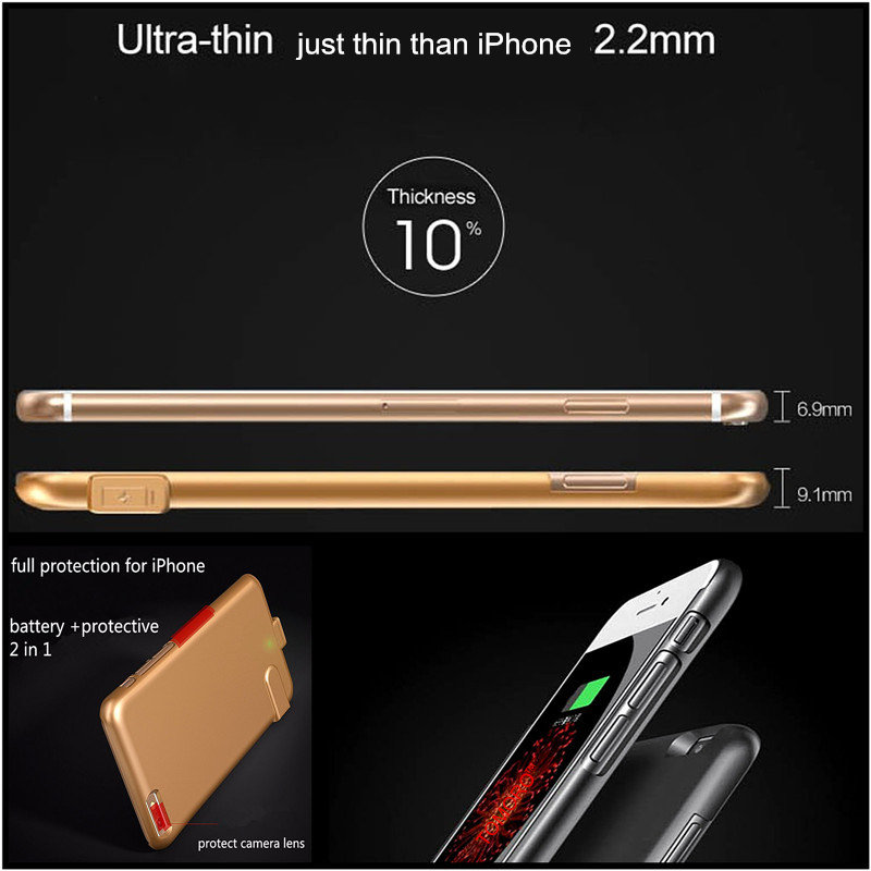 buy online 3a144 ac9e4 US $15.11 35% OFF|Power Bank Pack Battery Case for iPhone 7 7 Plus Charge  Case Charger Portable Extra External Battery Cover for iPhone 7Plus 7-in ...