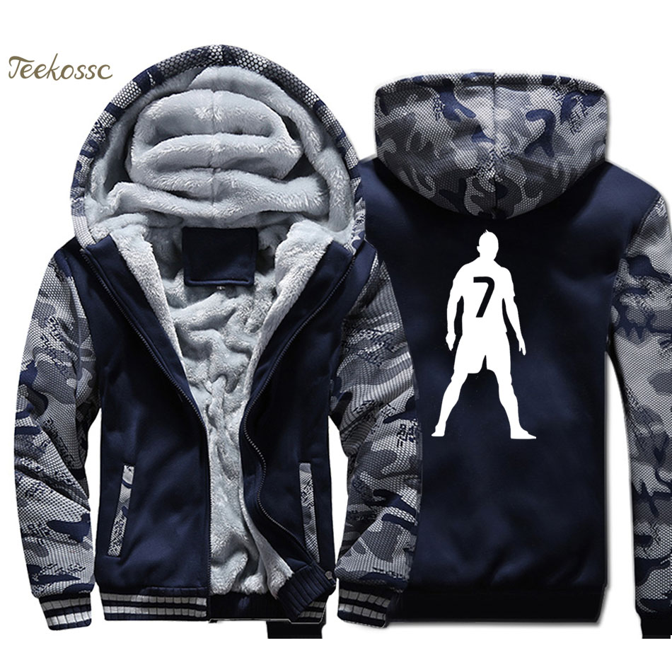 New Brand Hoodie Men Workout Hooded Sweatshirt Coat 2018 Winter Thick Fleece Warm Zip up Camouflage Jacket Fitness Streetwear