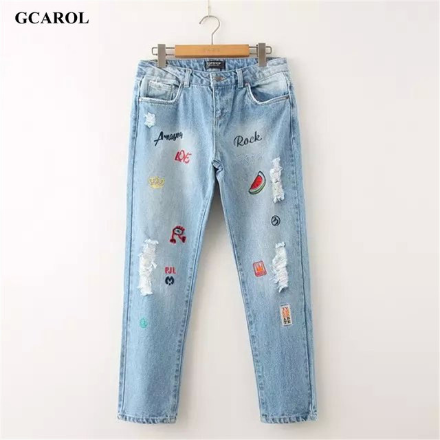 GCAROL 2017 New Arrival Women Letter Embroidery Denim Jeans Fashion Causal Ripped Jeans Plus Size 42  Pants For 4 Season