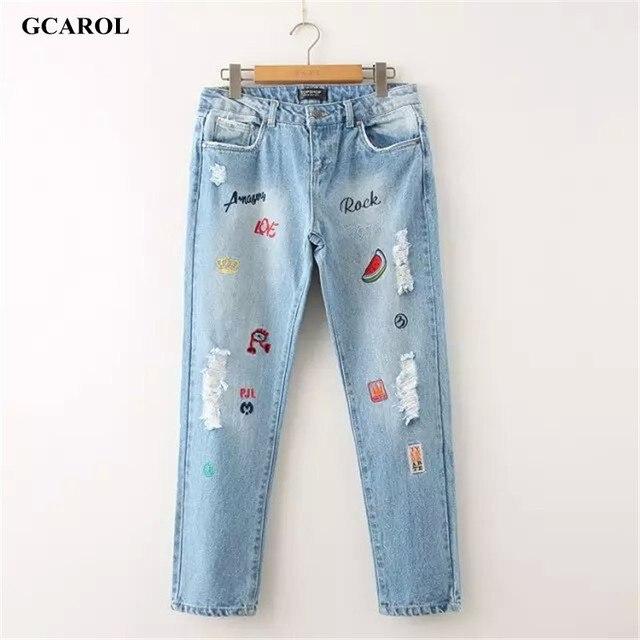 Gcarol 2017 chegada nova mulheres carta bordado denim jeans moda causais jeans rasgados plus size 42 calças para 4 temporada