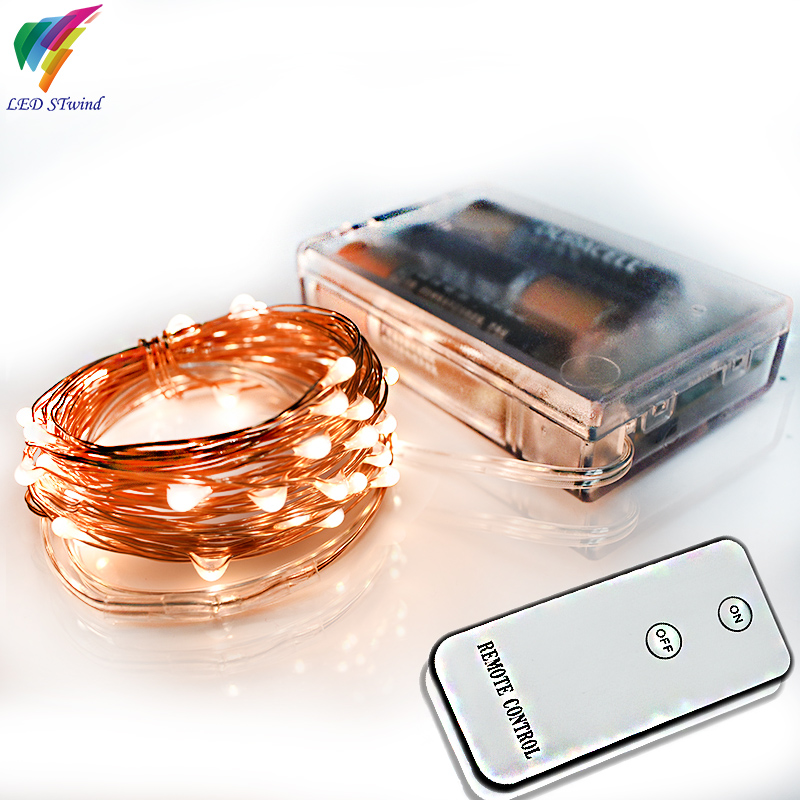 Remote Control 5M 50Led Mini Copper Wire String Lights lamp Decoration For Christmas Wedding ...
