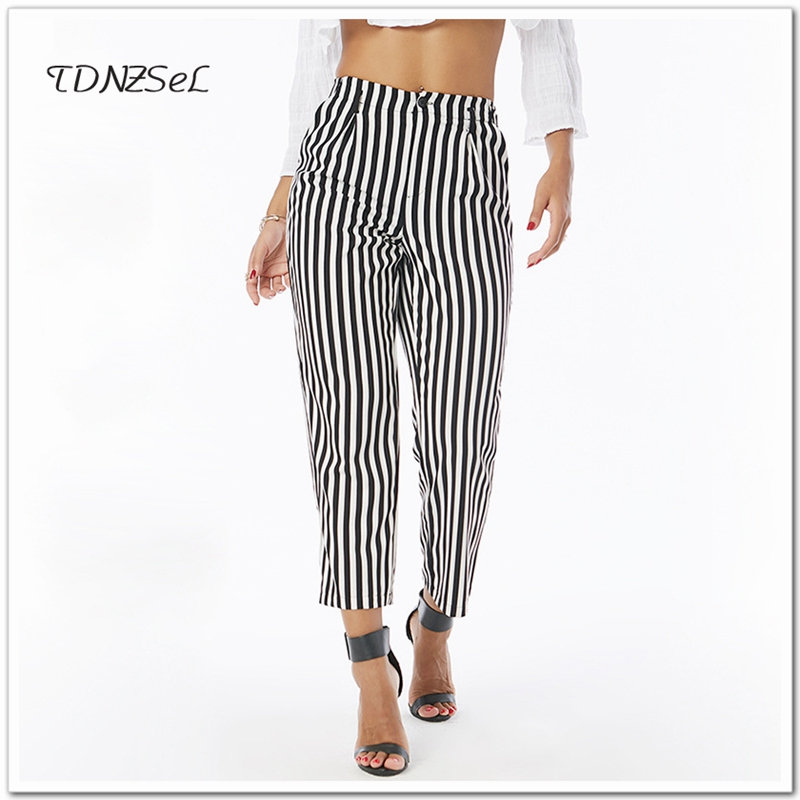 Women Casual Streetwear Black White Striped Harem   Pants     Capri   Loose Mid Waist Ankle-Length   Pant   2018 Summer Carrot Trousers Slim