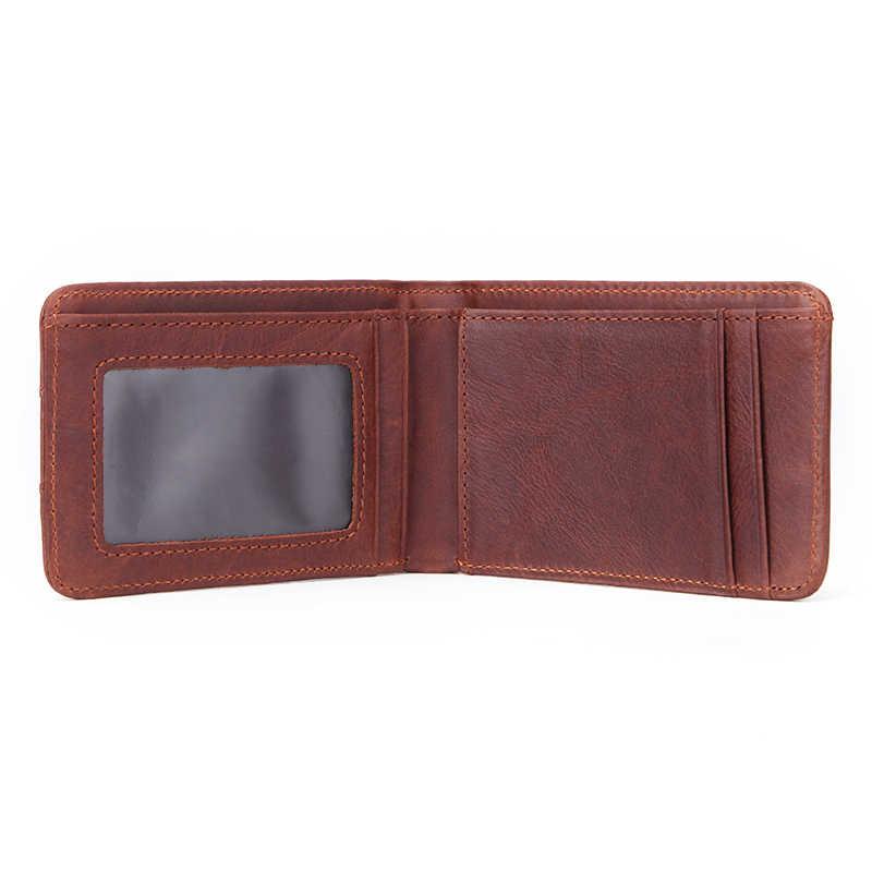 GENODERN מזדמן קטן ארנק עבור גברים אמיתי עור זכר Slim ארנקים קצר מיני ארנק עם כרטיס מחזיק כיס ארנקי