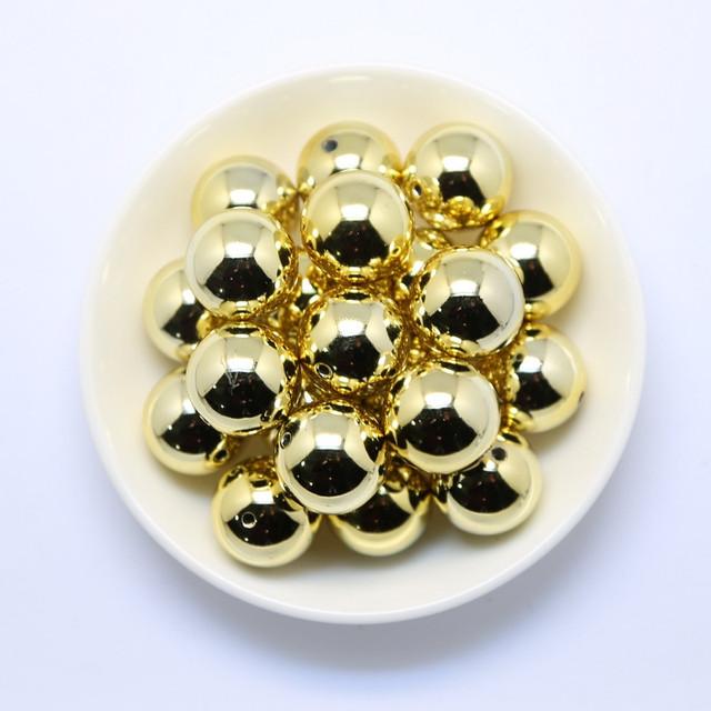 Frete Grátis 20 MM 100 pçs/lote Chunky Bubblegum Acrílico Contas Sólidos Impresso Ouro UV, Grânulos coloridos Para Jóias # CDWB-517220