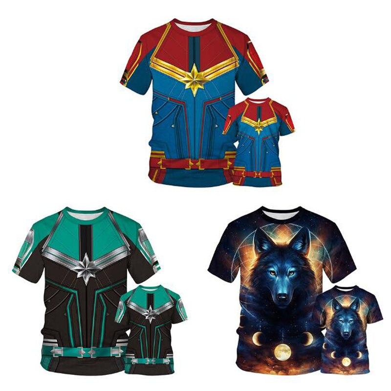Besorgt Zsiibo Beste Verkauf überraschung Kapitän Wolf Digital Print Short-ärmeln T-shirt Eltern-kind Tragen Sommer Kinder Atmungsaktiv Tops