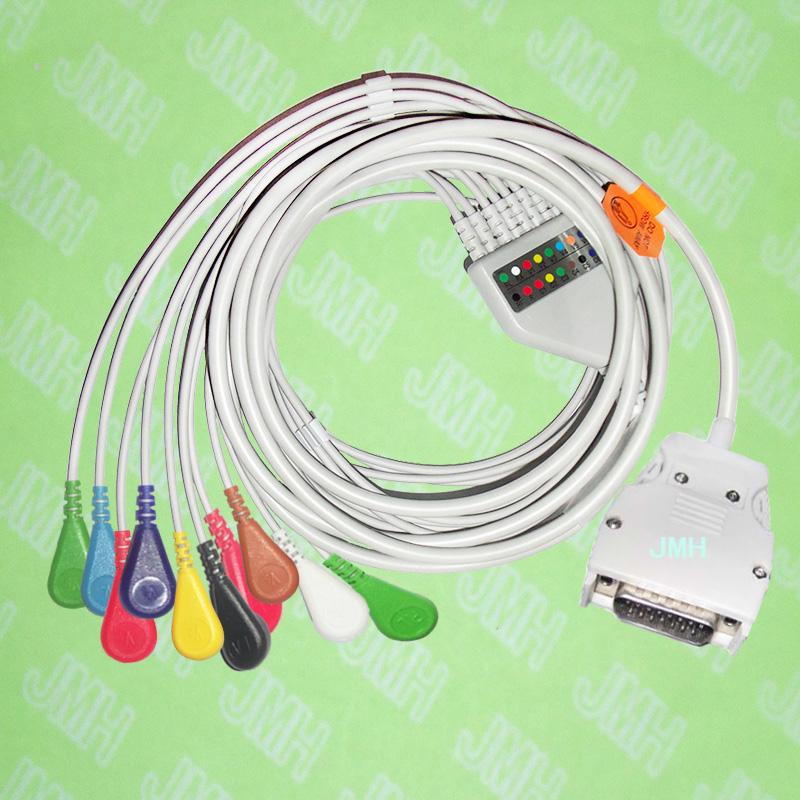 Use for 15 PIN Mortara Instrument ELI100,ELI200 EKG MONITOR Machine,One-piece 10 LEAD ECG cable and snap leadwires,IEC or AHA. 10 lead ecg ekg cable for zoll 8000 1007 02 aha snap connector
