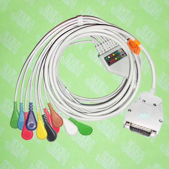 Use for 15 PIN Mortara Instrument ELI100,ELI200 EKG MONITOR Machine,One-piece 10 LEAD ECG cable and snap leadwires,IEC or AHA.