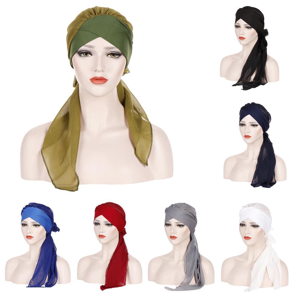 Women Long Tail Turban Hat Hijab Chemo Cap Muslim Headscarf Islamic Headwear Cancer Cap Hair Loss Hat Bow Bonnet Wide Band Wrap