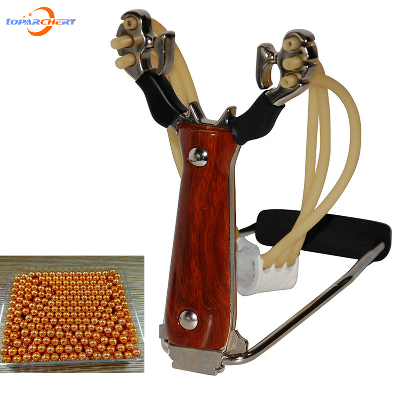 1 set Powerful Slingshot +100 pcs gold steel ball Stainless Steel Outdoor Hunting Catapult Shooting Wrist boy gift Toy Folding 1 pc hotselling stainless steel camo fierce power flashlight slingshot with beautiful appearance