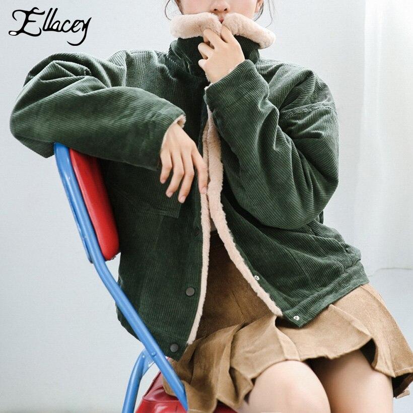 Ellacey 2018 hiver Preppy Style velours côtelé veste poches coton Parkas femmes mode velours épais manteau Harajuku femme veste