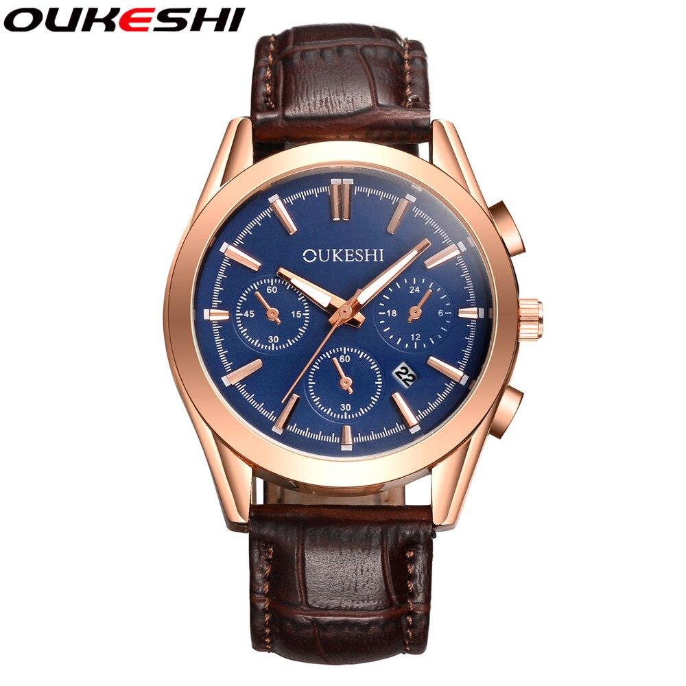 OUKESHI Brand Watch Luxury Men Wristwatch Fashion Waterproof Leather Business Quartz Watch with Date Calendar Relogio