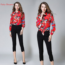 Fairy Dreams Two Piece Set Women's Suits Cartoon Print Red Shirt Tops And Black Pants 2017 Summer Style Ladies Fashion Clothing