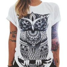 Tshirt Summer Women T-shirt Clothing Print Punk Rock Fashion Tees European T Shirt Owl Letters Eye Print T-shirt(China)
