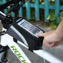 Bicycle Front Top Tube Bag Cycling Bike Frame Saddle Package For Mobile Phone Waterproof Touchscreen Bike Accessories