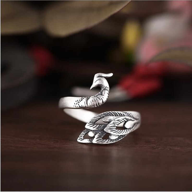 Retro 925 Sterling Silver Jewelry Thai Silver Personality Exquisite Peacock Wear Peony Accessories Female Rings      SR235