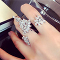 Korean Europe exaggerated fashion  ring zircon feather ladies temperament opening ring Mittens   1095