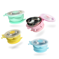 2017 New Stainless Steel Children Tableware Suction Bowl Baby Feeding Dish Food Container With Sucker Feeding