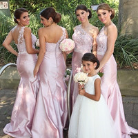 2016 Charming One Shoulder Appliques Covered Buttons Light Pink Maid Of Honor Dresses Formal Gown Mermaid