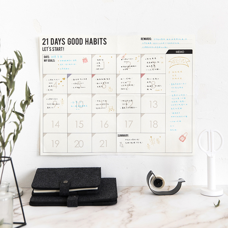 2019/2020 Yearly Calendar Year Planner Memo Organiser Annual Schedule 100-day Plan Monthly Plan Sticker Dots Wall Planner