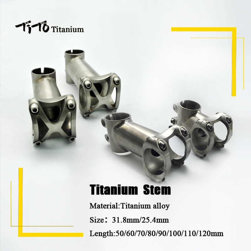 TiTo titanium bicycle stem Bike Stem MTB mountain Road handlebar Stem 25.4mm/31.8mm x Length 50/60/70/80/90/100/110/120mm fouriers 35mm road mtb bicycle stem aluminum alloy cnc bike stem cycling stems length 80 140mm 8 degree