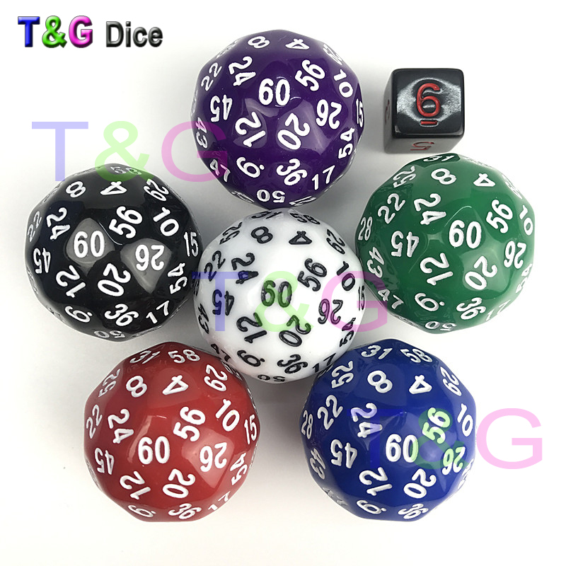 T&G dice 1pc High quality 60 sided dice,D60 dice,polyhedral dice for board game,number 1-60,Dungeon and Dragons rpg d&d dados d 340 t g