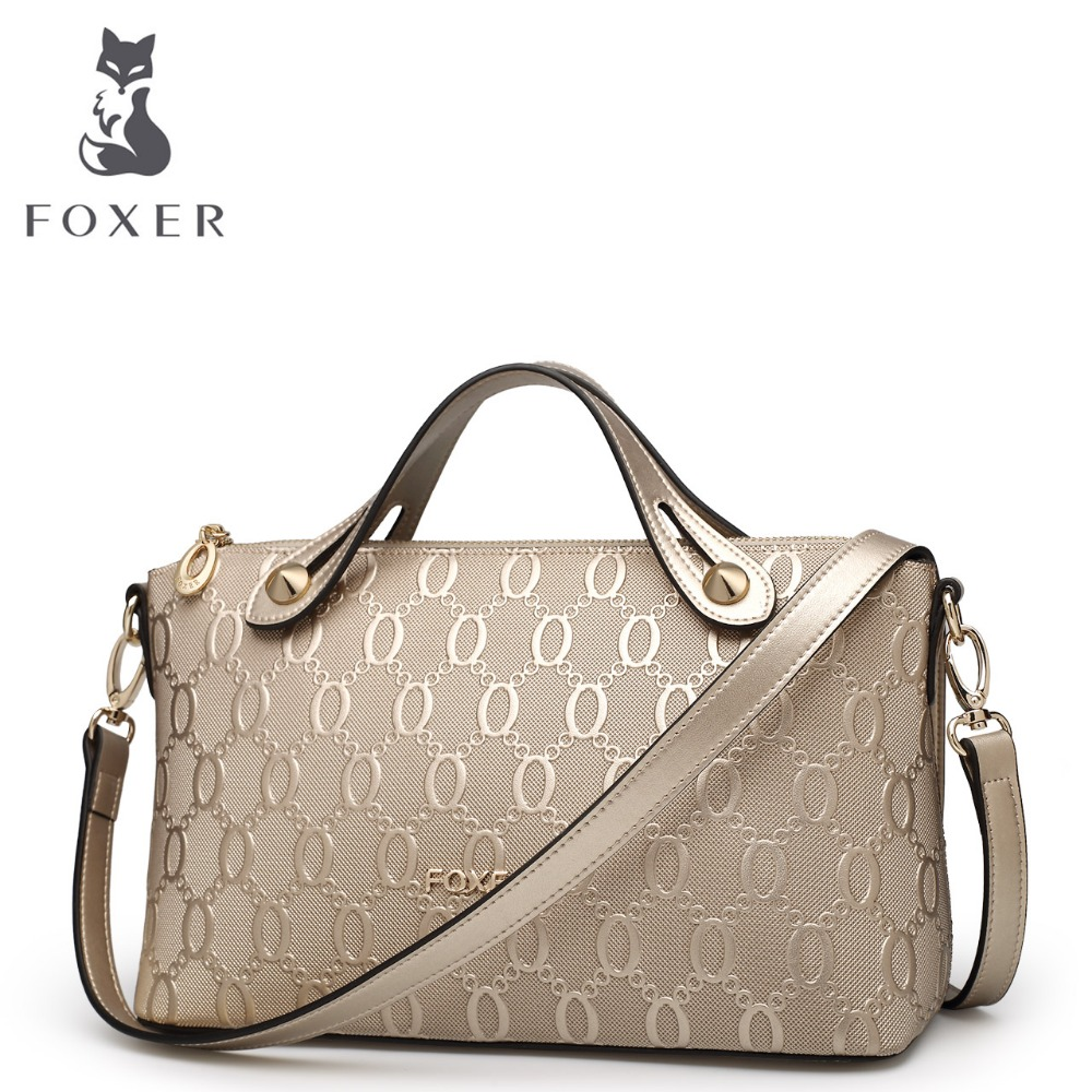 FOXER Women Cow Leather Shoulder Bags Crossbody Embossed Handbags High Quality Casual Messenger Bags