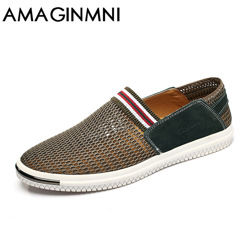 AMAGINMNI Men Shoes Loafers 2018 Summer Breathable Mesh Shoes Slip On Fashion Men Loafers Summer Light Casual Shoes Super light