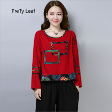 2018 autumn new retro printed cotton and linen t-shirt