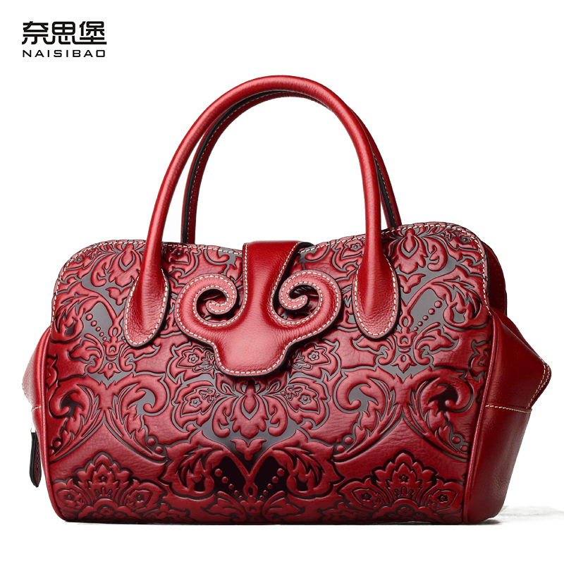 NAISIBAO Women Leather Handbag Luxury Messenger Bags Genuine Leather Totes Brand Wristlet Bag Women Shoulder Bags Chinese Red luxury genuine leather bag fashion brand designer women handbag cowhide leather shoulder composite bag casual totes