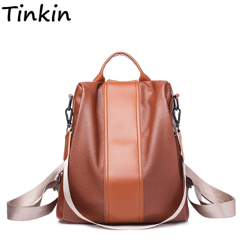 Tinkin Vintage Backpack Women Bag Soft-Leatherschool-Bag Female Fashion All-Match Patchwork