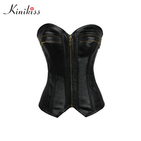 Kinikiss Women Bustier Corset 11 11 Shopping Festival Pu Leather Corset Short Sexy Zipper Black Steampunk