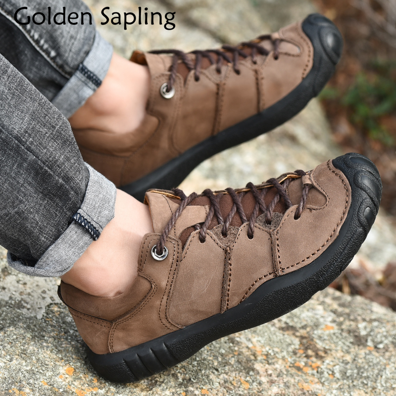 Golden Sapling Outdoor Shoes Man Sneakers Breathable Genuine Leather Male Tactical Shoes Men Mountain Rubber Trekking Boots Men цена