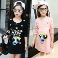 Girls Bottoming Shirts Cartoon Tops Cotton O-neck T-shirts Casual Girls Clothing Fashion Kid Clothes Vestido Infantil Tees 4T-12