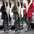 M-XXL Women Fur Collar Outerwear Winter Thick Velvet Hooded Warm Padded Jacket Coat Army Green/Wine Red/Black