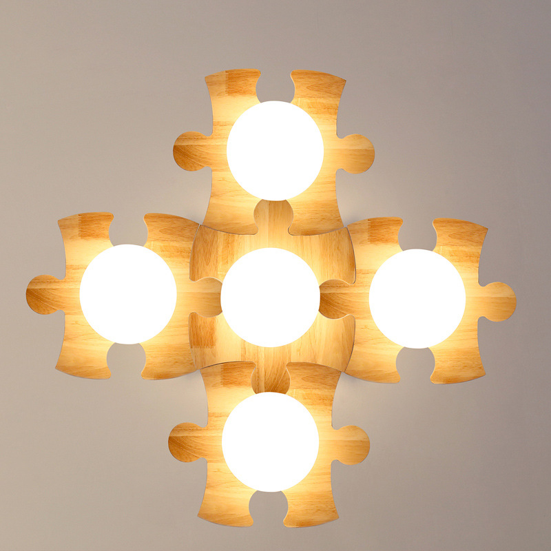 Modern DIY Puzzle Wood Glass E27 Ceiling Light For Living Room Bedroom Aisle Corridor Creative Fashion Nordic Ceiling Lamp 1322 japanese style tatami floor lamp aisle lights entrance corridor lights wood ceiling fixtures tatami wood ceiling aisle promotion