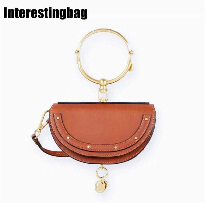 Fait intéressant sac 2019 sacs à main de luxe femmes sacs Designer bague en cuir demi-lune Messenger sacs à bandoulière sac pour femmes