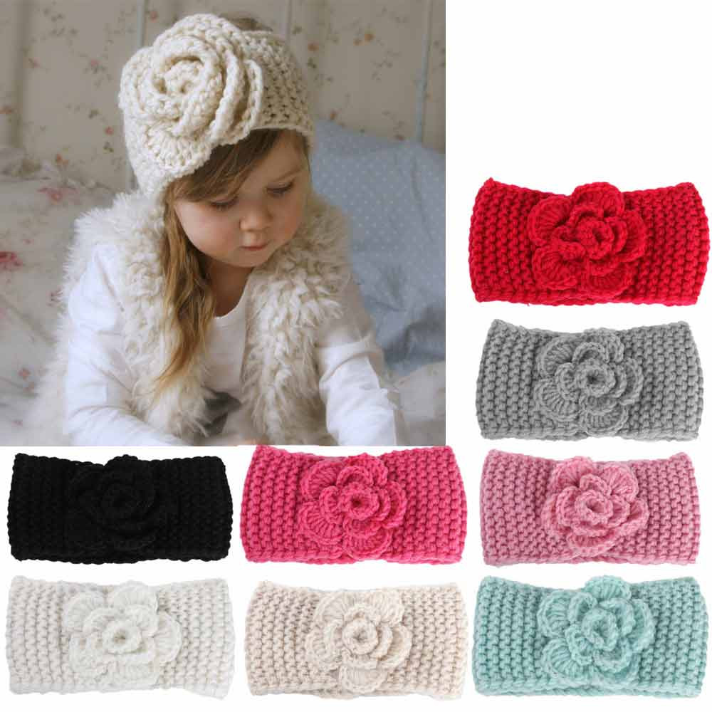 Fashion Soft Baby Winter Keep Warm Flower Knitting Wool Infant Kids Girl Hairband Phtography Props Baby Hair Accessories 3M-4T