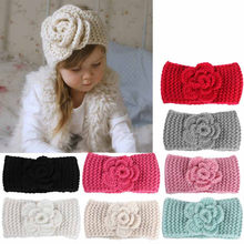 Fashion soft Baby winter Keep Warm Flower Knitting wool Infant Kids Girl Hairband Phtography Props baby hair accessories 3M-4T(China)
