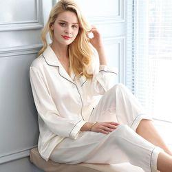 Sexy 100% Echte Seide Pyjama Sets Frauen Reine Farbe Langarm 2 Pcs Hause Anzug Echten Maulbeer Seide Edle Pyjamas frauen Nachtwäsche