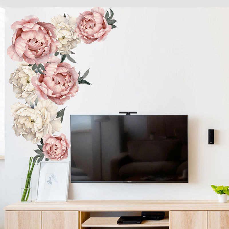 1PCS 3D סיני סגנון אדמונית קיר מדבקת עלה פרח לסלון חדר שינה 40*60CM חדר מדבקות קיר עיצוב הבית טפט