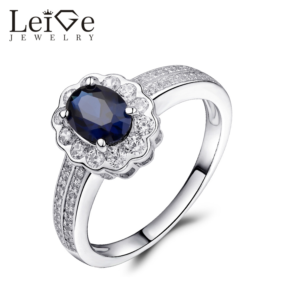 Leige Jewelry Engagement Ring for Woman Blue Sapphire Ring Oval Cut Sterling Silver Delicate Wedding Promise Ring Christmas Gift delicate alloy faux sapphire geometric ring for women