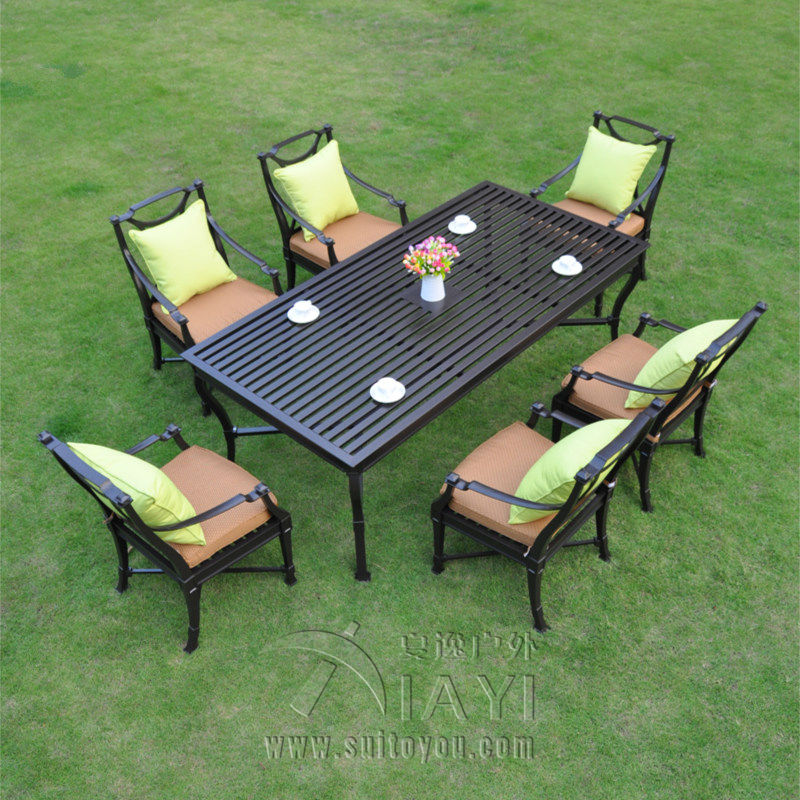 7 piece cast aluminum patio furniture garden furniture for Outdoor furniture 7 piece
