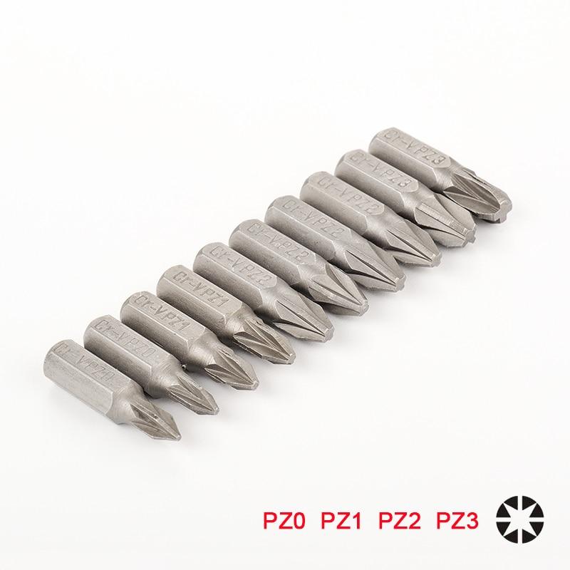 10pcs 25mm CR-V PZ Pozidriv Bits 1/4 Inch 6.35mm Hex Shank PZ0 PZ1 PZ2 PZ3 Anti Slip Electric Screwdriver Bit Set