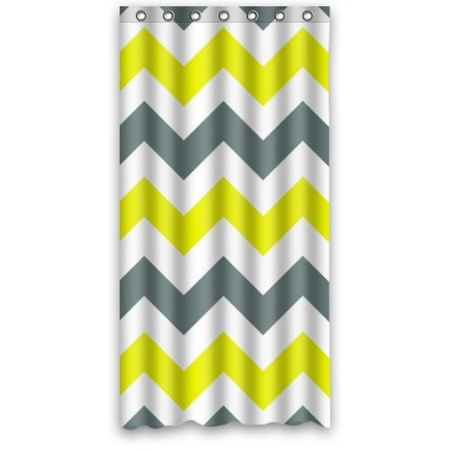 36 X 72 Inch Chevron Yellow New Style Polyester Shower Curtain