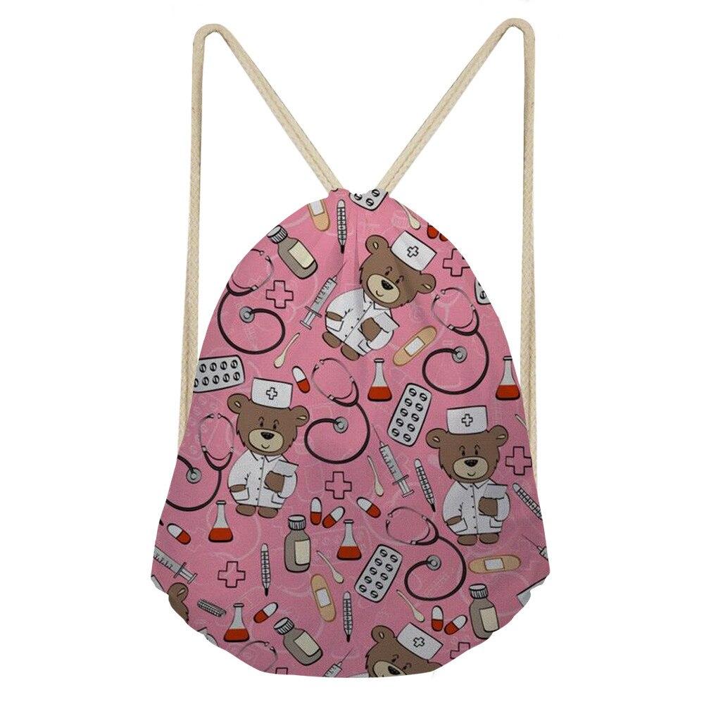 Cartoon Nurse Bear Print Women Small Drawstring Bag Pink School Girls String Storage Bags Women's Mochila Female Bag