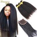 Brasileño de la virgen Afro rizado recto grueso Yaki armadura del pelo humano con cierre italiano de luz Yaky pelo Bundles with del encierro del cordón
