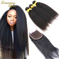 Brazilian Virgin Afro Kinky Straight Coarse Yaki Human Hair Weave with Closure Italian Light Yaky Hair Bundles with Lace Closure
